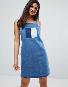 photo Patchwork Dress by Glamorous, color Mid Blue Stone Patch - Image 1