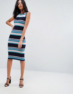 photo Stripe Midi Dress by A State Of Being, color Stripe - Image 1