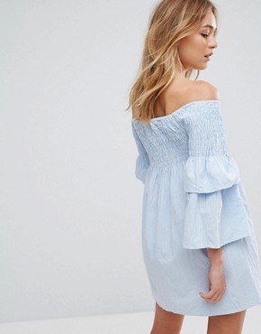 photo Aaron Off Shoulder Ruffle Sleeve Dress by Walter Baker, color Baby Blue Stripe - Image 2