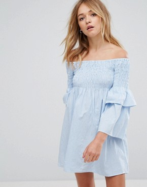 photo Aaron Off Shoulder Ruffle Sleeve Dress by Walter Baker, color Baby Blue Stripe - Image 1