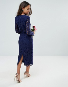 photo Long Sleeve Midi Pencil dress by ASOS PETITE WEDDING, color Navy - Image 2