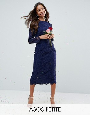 photo Long Sleeve Midi Pencil dress by ASOS PETITE WEDDING, color Navy - Image 1