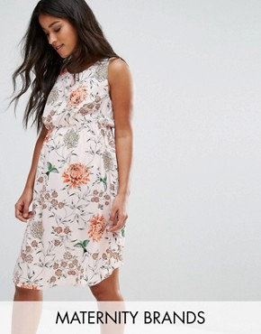 photo Eastern Blossom Tea Dress by New Look Maternity, color Pink Pattern - Image 1
