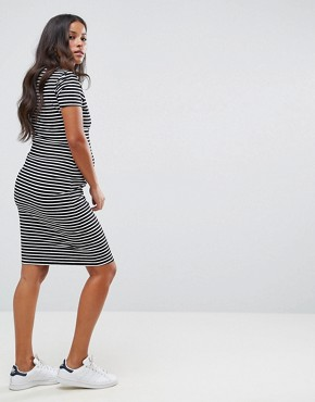photo Stripe Dress by New Look Maternity Nursing, color Black Pattern - Image 2