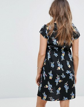 photo Floral Wrap Dress by New Look Maternity, color Black Pattern - Image 2