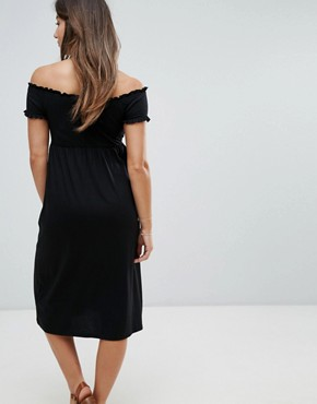 photo Shirred Bardot Midi Dress by New Look Maternity, color Black - Image 2