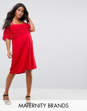 photo Broderie Cold Shoulder Dress by New Look Maternity, color Red - Image 1