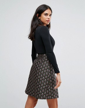 photo Double Take Dress with Jacquard Skirt by Traffic People, color Black/Pink - Image 2