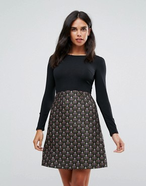 photo Double Take Dress with Jacquard Skirt by Traffic People, color Black/Pink - Image 1