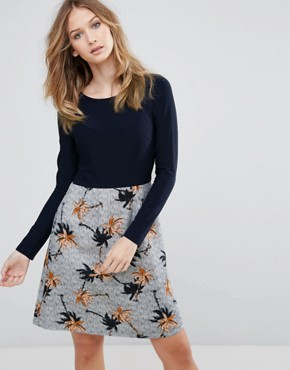 photo Double Take Dress with Palm Print Skirt by Traffic People, color Navy - Image 1