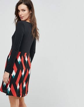 photo Double Take Dress with Graphic Print Skirt by Traffic People, color Black/Orange - Image 2