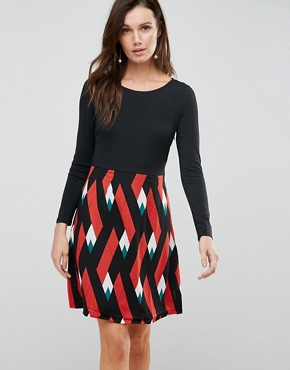 photo Double Take Dress with Graphic Print Skirt by Traffic People, color Black/Orange - Image 1