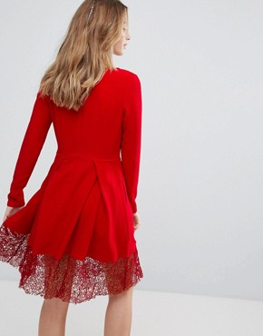 photo Long Sleeve Skater Dress with Lace Insert by Traffic People, color Red - Image 2
