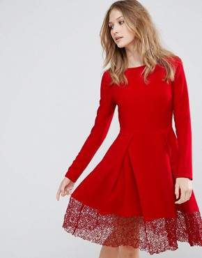 photo Long Sleeve Skater Dress with Lace Insert by Traffic People, color Red - Image 1