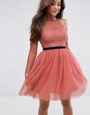 photo Tulle Cold Shoulder Mini Prom Dress by ASOS PREMIUM, color Rose - Image 1