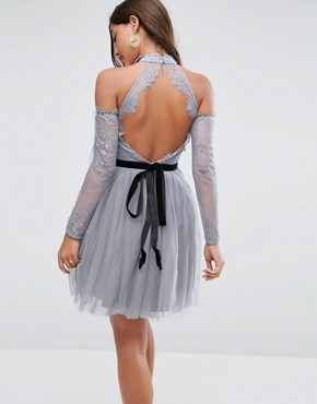 photo Tulle Cold Shoulder Mini Prom Dress by ASOS PREMIUM, color Grey - Image 2