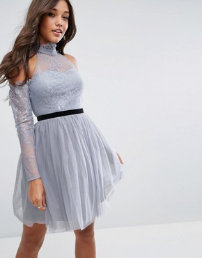 photo Tulle Cold Shoulder Mini Prom Dress by ASOS PREMIUM, color Grey - Image 1