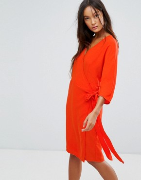 photo Wrap Front Dress by b.Young, color Tigerlily - Image 1
