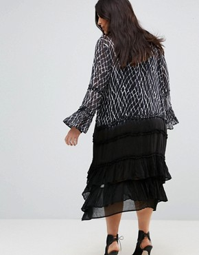photo Ruffle Long Sleeve Midi Dress with Tiered Skirt in Criss Cross by Religion Plus, color Multi - Image 2