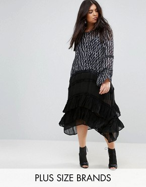 photo Ruffle Long Sleeve Midi Dress with Tiered Skirt in Criss Cross by Religion Plus, color Multi - Image 1