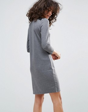 photo Lace Insert Dress by Vila, color Medium Grey Melange - Image 2