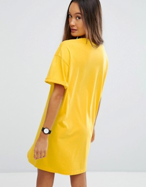 photo T-Shirt Dress with Rolled Sleeves by ASOS ULTIMATE, color Mustard - Image 2