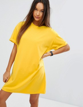 photo T-Shirt Dress with Rolled Sleeves by ASOS ULTIMATE, color Mustard - Image 1