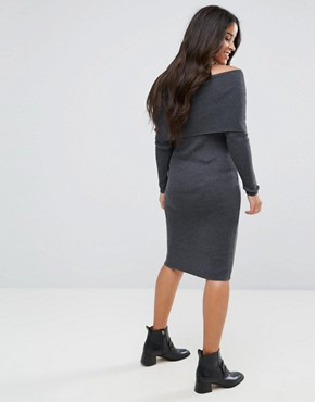photo Knitted Midi Dress with Bardot by ASOS Maternity, color Charcoal - Image 2