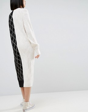 photo Deconstructed Knit Jumper Dress by ASOS WHITE, color Multi - Image 2