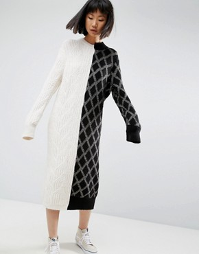 photo Deconstructed Knit Jumper Dress by ASOS WHITE, color Multi - Image 1