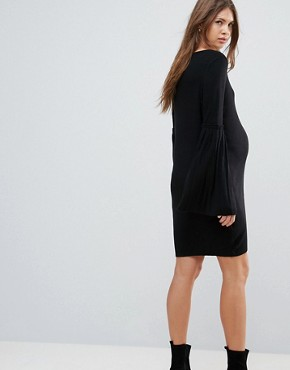 photo Knitted Dress with Pleated Sleeve by ASOS Maternity, color Black - Image 2