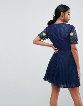photo Embroidered Mini Pleat and Lace Dress by ASOS PETITE, color Navy - Image 2