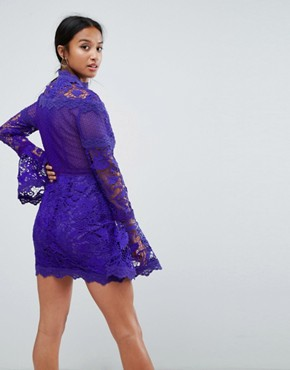 photo Lace Long Sleeve Mini Dress with Fluted Sleeves by ASOS PETITE, color Purple - Image 2