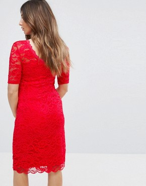photo Lace Dress by Mamalicious, color Red - Image 2