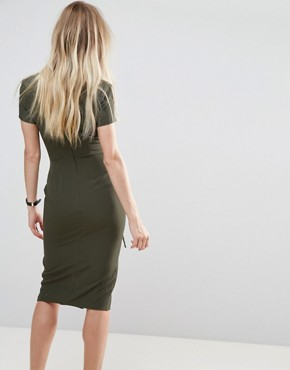 photo Midi Dress with Lace Up by ASOS, color Khaki - Image 2