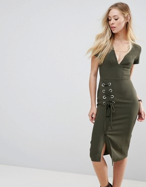 photo Midi Dress with Lace Up by ASOS, color Khaki - Image 1