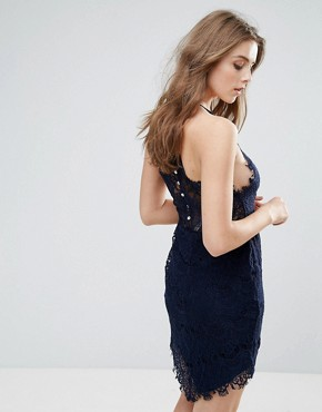 photo She's Got It Lace Bodycon Dress by Free People, color Navy - Image 2