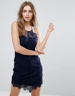 photo She's Got It Lace Bodycon Dress by Free People, color Navy - Image 1