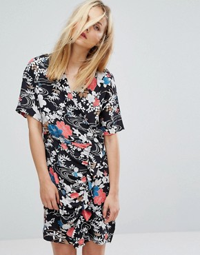 photo Floral Print Wrap Tea Dress by Paul & Joe Sister, color Black - Image 1