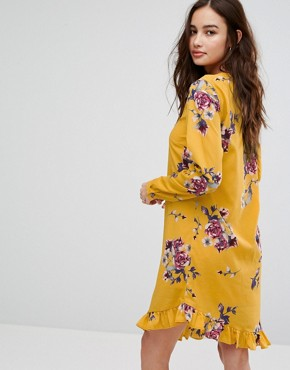 photo Floral Printed Dress with Frill Hem by Vila, color Multi - Image 2