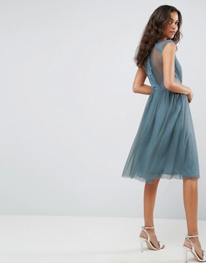 photo Tulle Cap Sleeve Midi Dress in Tonal Lace by ASOS, color Dusty Blue - Image 2