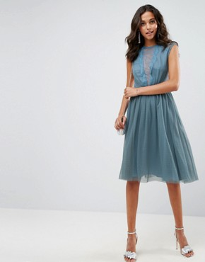 photo Tulle Cap Sleeve Midi Dress in Tonal Lace by ASOS, color Dusty Blue - Image 1