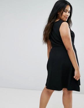photo Lattice Front Skater Dress by New Look Plus, color Black - Image 2