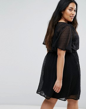 photo Dobby Spot Skater Dress by New Look Plus, color Black - Image 2