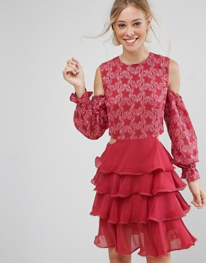 photo Allegro Lace and Ruffles Dress by Isla, color Blush - Image 1