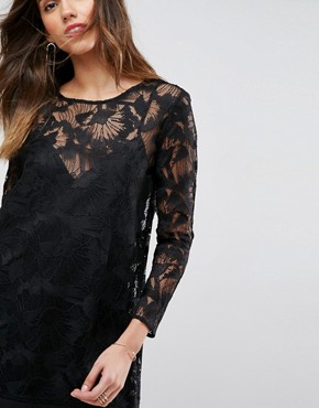 photo Layback Lace Long Sleeved Cocktail Dress by Isla, color Black - Image 2