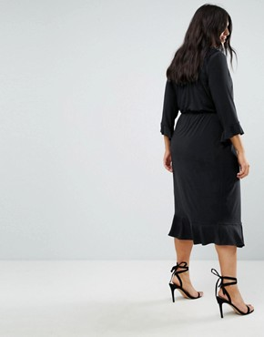photo Wrap Front Midi Dress with Frill Detail by ASOS CURVE, color Black - Image 2