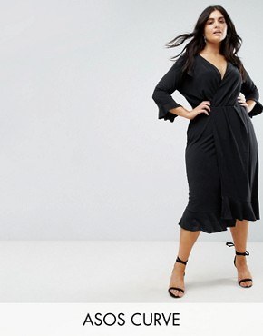 photo Wrap Front Midi Dress with Frill Detail by ASOS CURVE, color Black - Image 1