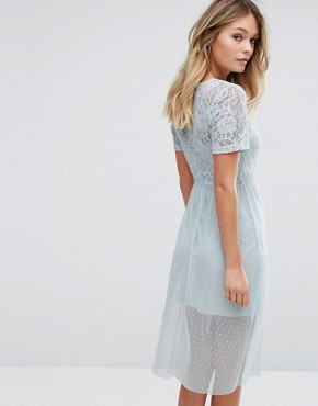 photo Lace Embroidered Skater Dress by New Look Premium, color Light Blue - Image 2