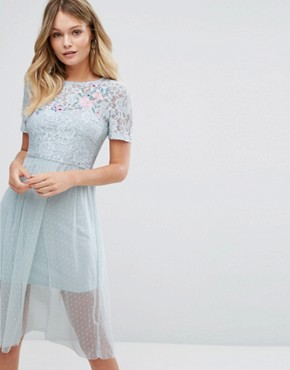 photo Lace Embroidered Skater Dress by New Look Premium, color Light Blue - Image 1